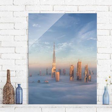 Glasbild - Dubai über den Wolken - Hochformat 4:3