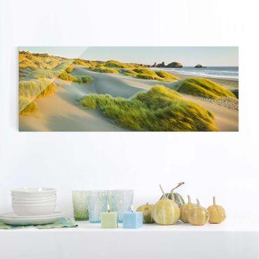 Glasbild - Dünen und Gräser am Meer - Panorama Quer