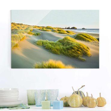 Glasbild - Dünen und Gräser am Meer - Quer 3:2