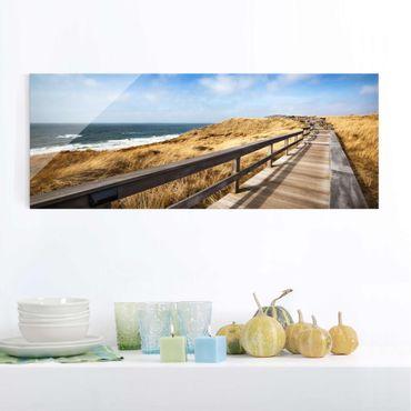 Glasbild - Dünenweg an der Nordsee auf Sylt - Panorama Quer