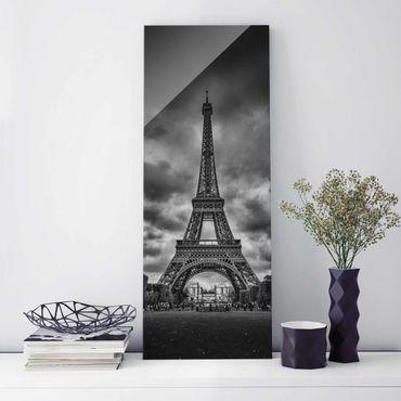 Glasbild - Eiffelturm vor Wolken schwarz-weiß - Panel