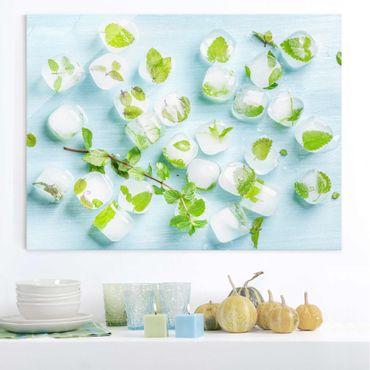 Glasbild - Eiswürfel mit Minzblättern - Quer 4:3