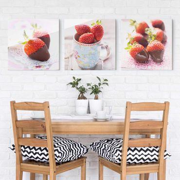Glasbild - Erdbeeren im Schokomantel Vintage 3-teilig