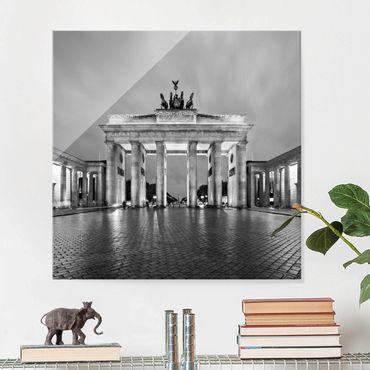 Glasbild Berlin - Erleuchtetes Brandenburger Tor II - Quadrat 1:1