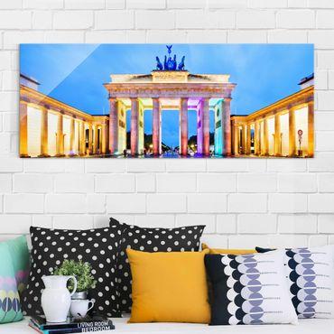 Glasbild - Erleuchtetes Brandenburger Tor - Panorama Quer
