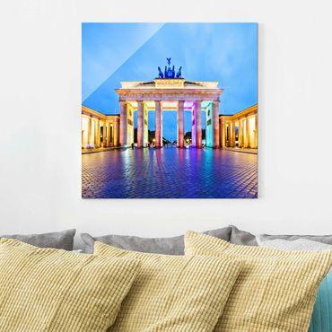 Glasbild Berlin - Erleuchtetes Brandenburger Tor - Quadrat 1:1
