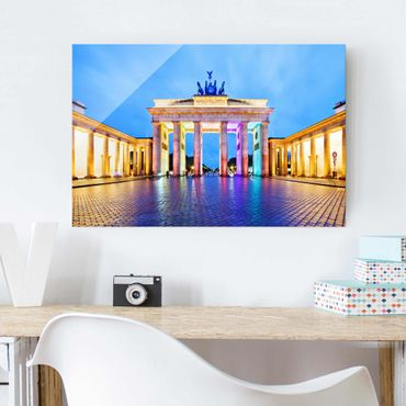 Glasbild Berlin - Erleuchtetes Brandenburger Tor - Quer 3:2