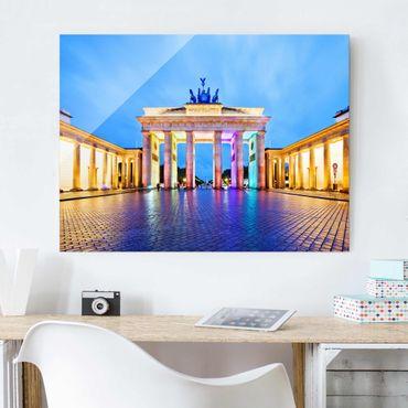 Glasbild Berlin - Erleuchtetes Brandenburger Tor - Quer 4:3