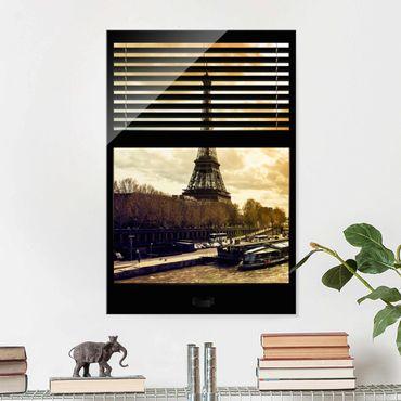 Glasbild - Fensterausblick Jalousie - Paris Eiffelturm Sonnenuntergang - Hoch 2:3