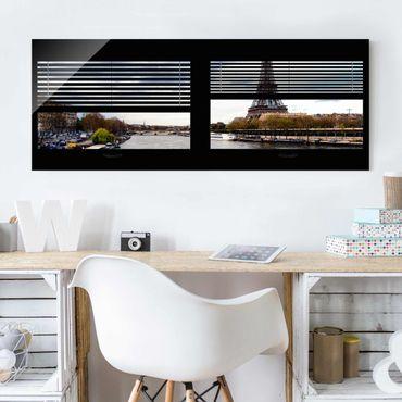 Glasbild - Fensterausblick Jalousie - Seine und Eiffelturm - Panorama Quer