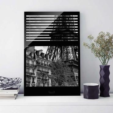 Glasbild - Fensterausblick Paris - Nahe am Eiffelturm schwarz weiss - Hoch 2:3