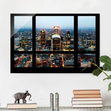 Glasbild - Fensterblick auf beleuchtete Skyline von London - Quer 3:2