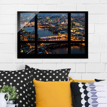 Glasbild - Fensterblick auf Londons Skyline mit Brücken - Quer 3:2