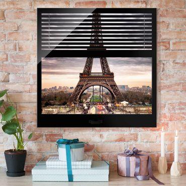 Glasbild - Fensterblick Jalousie - Eiffelturm Paris - Quadrat 1:1