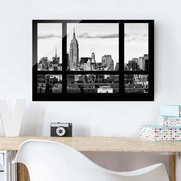Glasbild - Fensterblick New York Skyline schwarz weiss - Quer 3:2