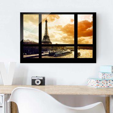 Glasbild - Fensterblick - Paris Eiffelturm Sonnenuntergang - Quer 3:2