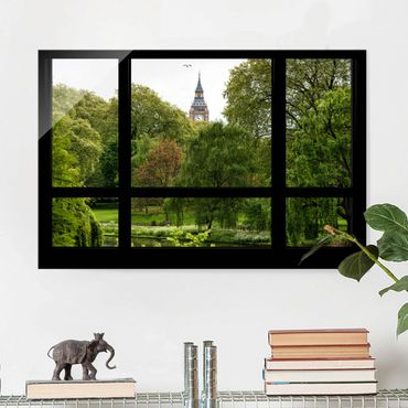 Glasbild - Fensterblick über St. James Park auf Big Ben - Quer 3:2