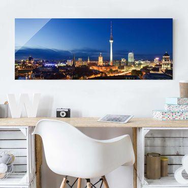 Glasbild - Fernsehturm bei Nacht - Panorama Quer