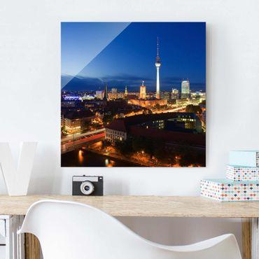 Glasbild Berlin - Fernsehturm bei Nacht - Quadrat 1:1
