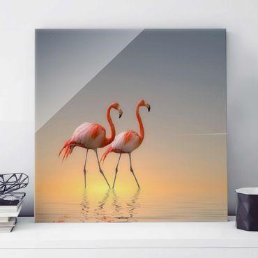Glasbild - Flamingo Love - Quadrat 1:1