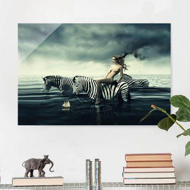 Glasbild - Frauenakt mit Zebras - Quer 3:2