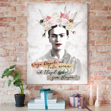 Glasbild - Frida Kahlo - Zitat - Hochformat 3:4