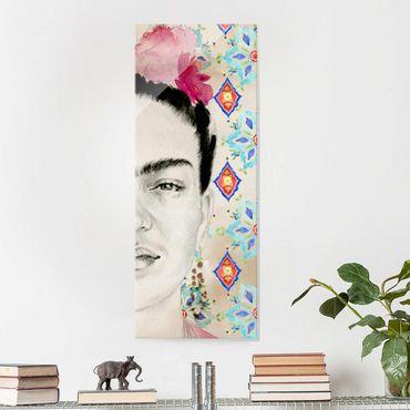 Glasbild - Frida mit rosa Blüten I - Panel
