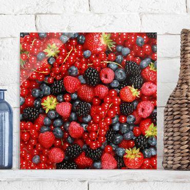 Glasbild - Fruchtige Waldbeeren - Quadrat 1:1