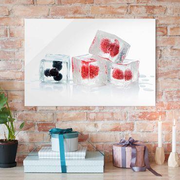Glasbild - Früchte im Eiswürfel - Quer 3:2