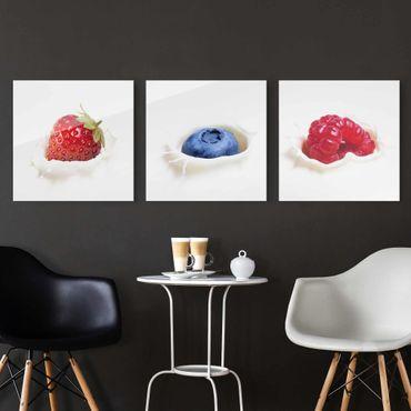 Glasbild - Früchte Milch Splash 3-teilig