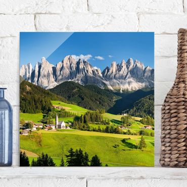 Glasbild - Geislerspitzen in Südtirol - Quadrat 1:1