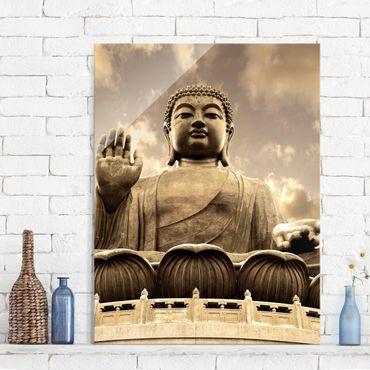 Glasbild - Großer Buddha Sepia - Hoch 3:4