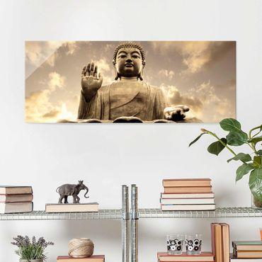 Glasbild - Großer Buddha Sepia - Panorama Quer