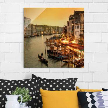 Glasbild - Großer Kanal von Venedig - Quadrat 1:1