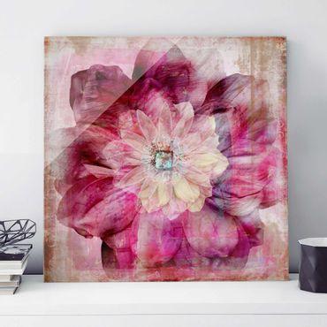 Glasbild - Grunge Flower - Quadrat 1:1