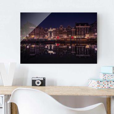 Glasbild - Hausboote in Amsterdam - Quer 3:2