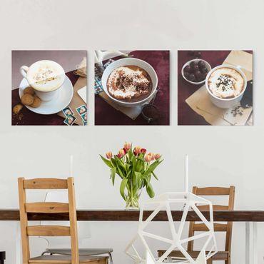 Glasbild - Heiße Schokolade mit Sahne 3-teilig