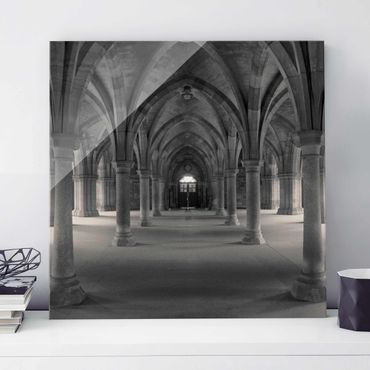 Glasbild - Historische Säulen - Quadrat 1:1