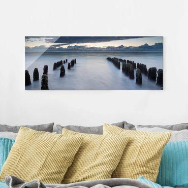 Glasbild - Holzbuhnen in der Nordsee auf Sylt - Panorama Quer