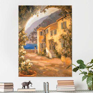 Glasbild - Italienische Landschaft - Blumenbogen - Hochformat 4:3