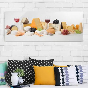 Glasbild - Käse-Variationen - Panorama Quer