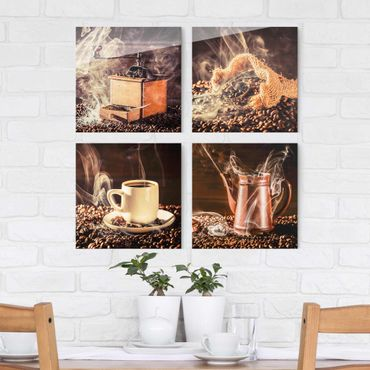 Glasbild - Kaffee - Dampf 4-teilig