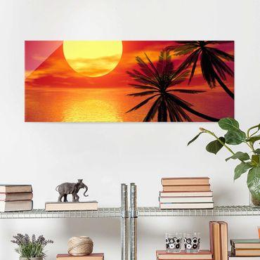 Glasbild - Karibischer Sonnenuntergang - Panorama Quer