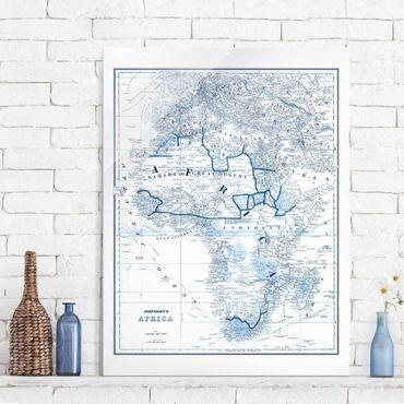 Glasbild - Karte in Blautönen - Afrika - Hochformat 4:3
