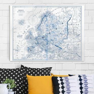Glasbild - Karte in Blautönen - Europa - Querformat 3:4
