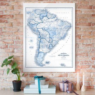 Glasbild - Karte in Blautönen - Südamerika - Hochformat 4:3