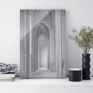 Glasbild - Kreuzgang in der Grundtvigs Kirke - Hoch 2:3