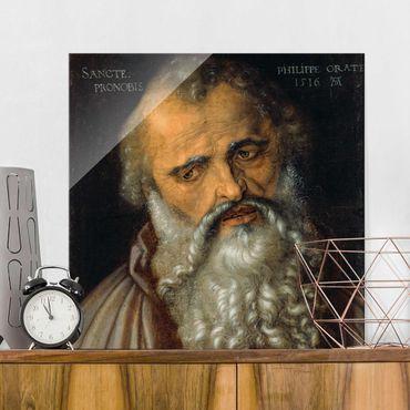 Glasbild - Kunstdruck Albrecht Dürer - Der Apostel Philippus - Quadrat 1:1