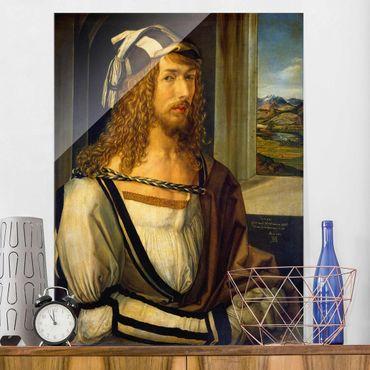 Glasbild - Kunstdruck Albrecht Dürer - Selbstbildnis mit Landschaft - Hoch 3:4
