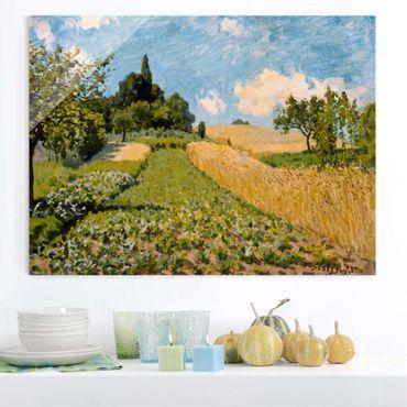 Glasbild - Kunstdruck Alfred Sisley - Sommerlandschaft mit Feldern - Quer 4:3